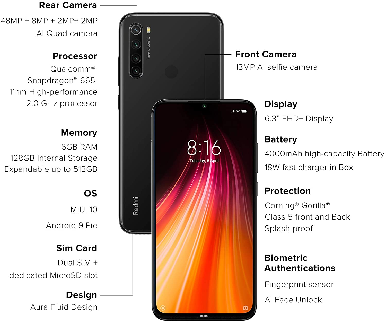 Celular Smartphone Xiaomi Redmi Note 8 128gb 06 RAM Preto