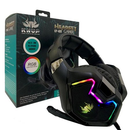 Headphone Gamer KP-489 KNUP RGB PC PS4 PS3