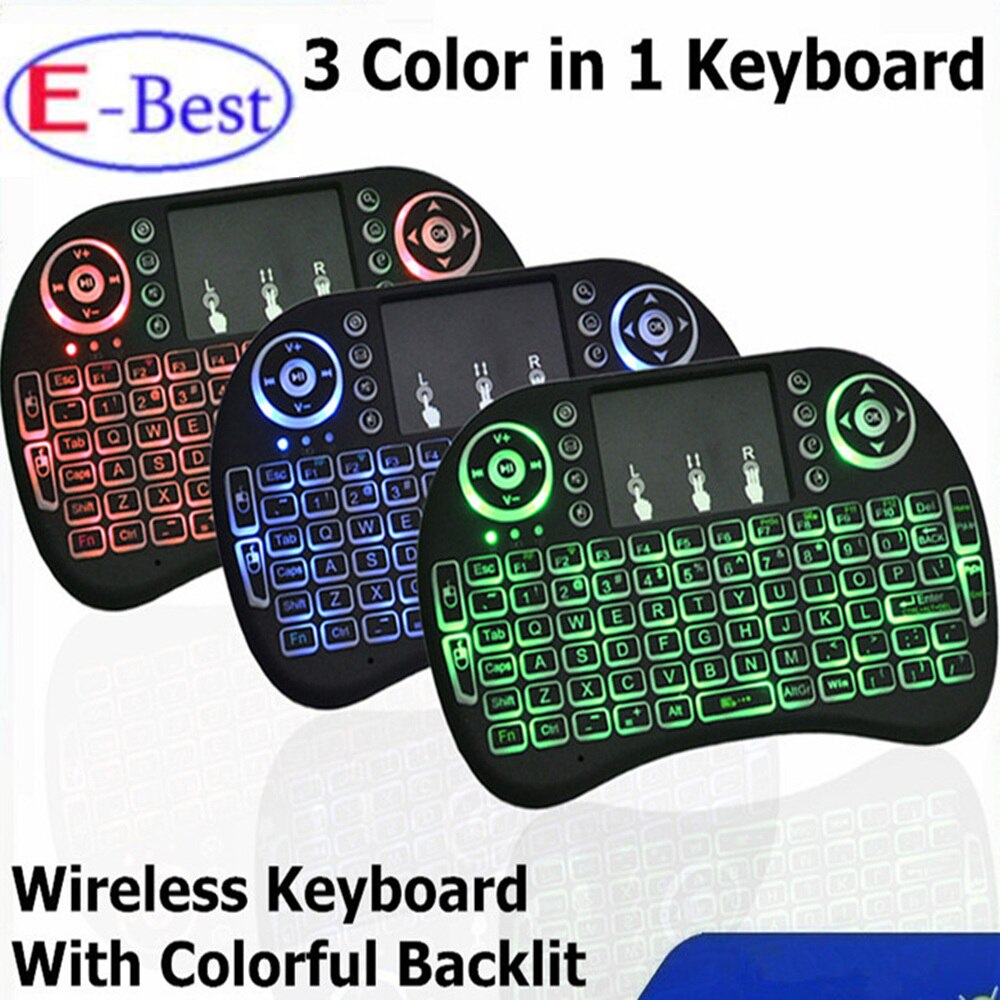 Mini Teclado e Mouse sem fio para TV Smart / TV Box com Led a bateria
