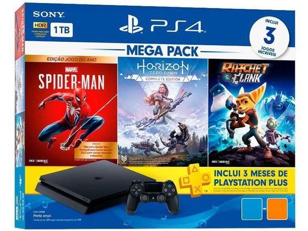 Videogame Playstation 4 Slim 1 tera + 3 jogos Mega Pack (Knack 2, Concrete Genie e Ratchet & Clank.)