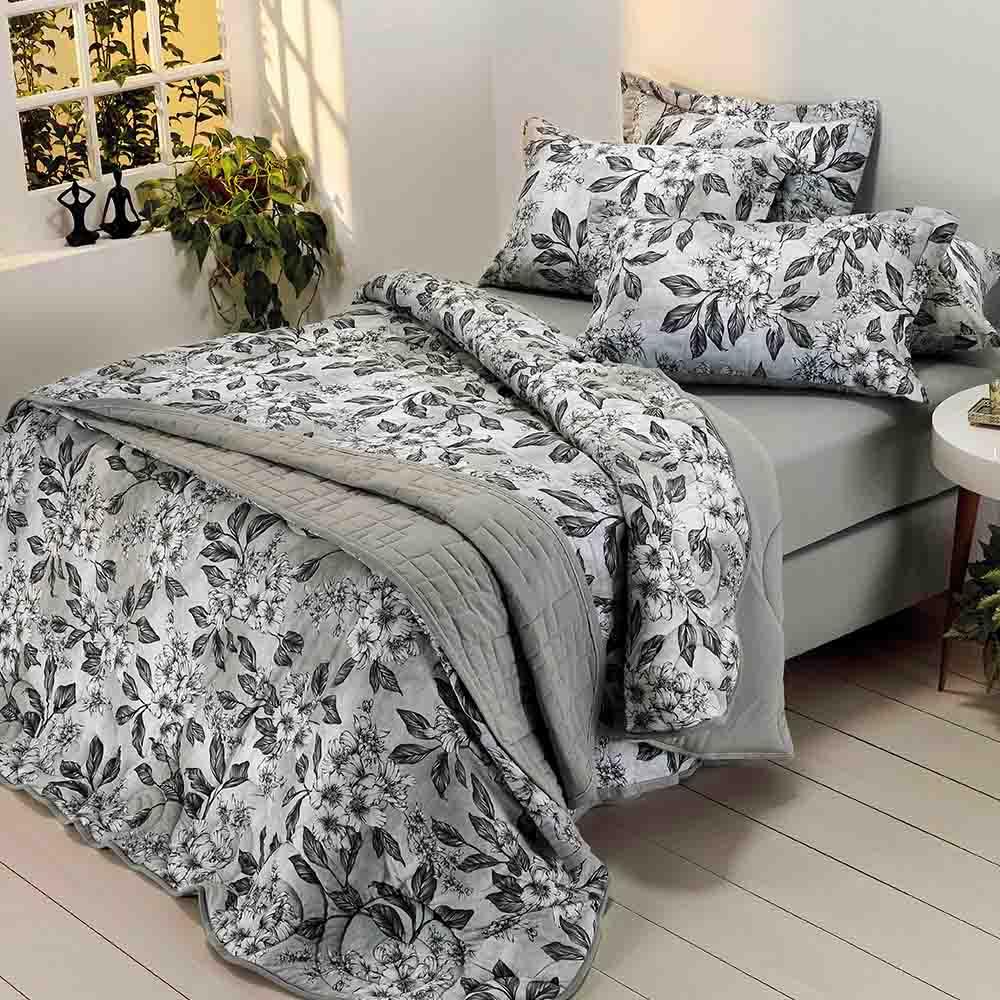 Edredom de Malha Estampado Floral Alissa Dianneli 100% Algodão