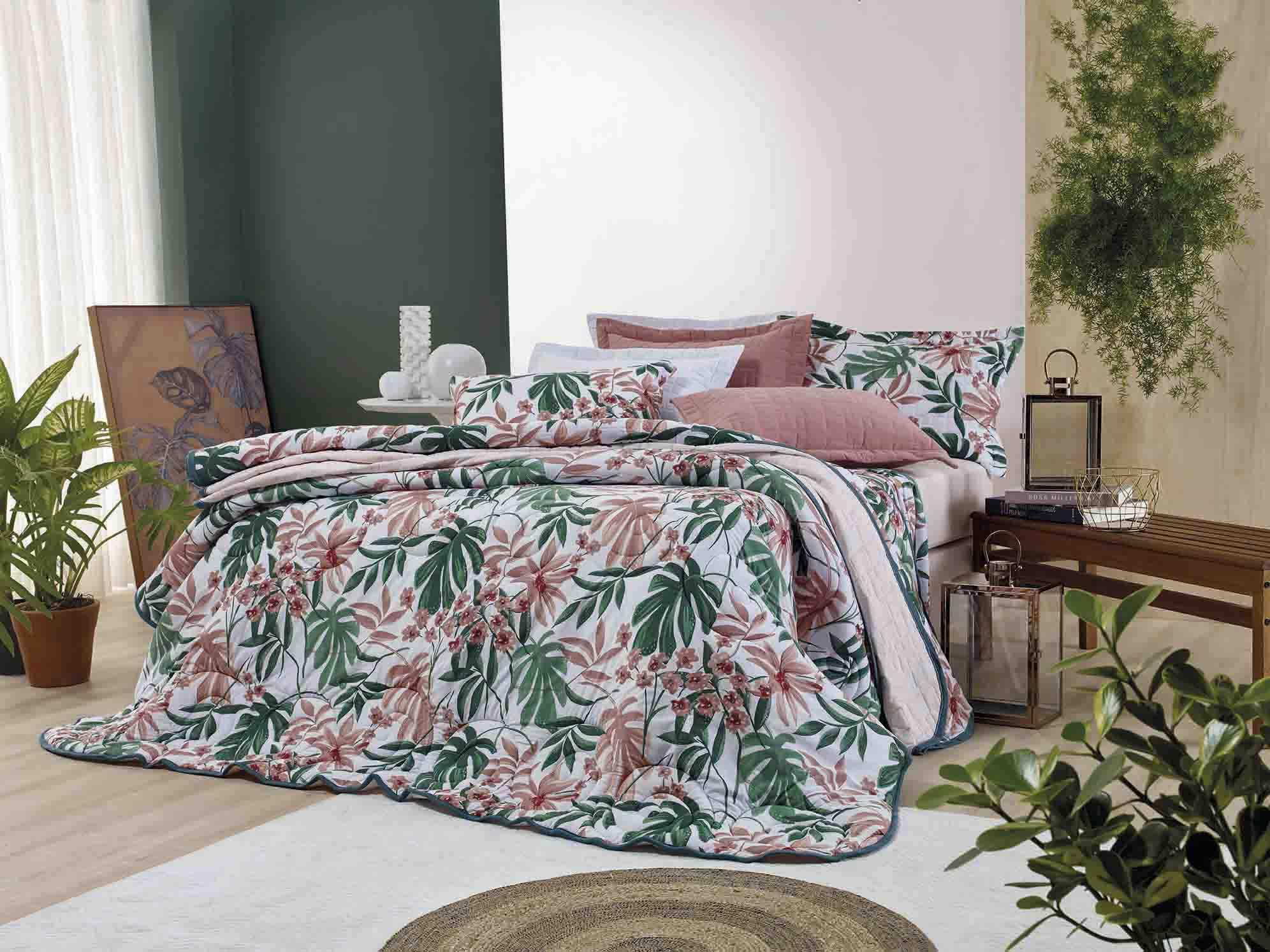 Edredom de Malha Estampado Floral Dianneli Folliage 100% Algodão