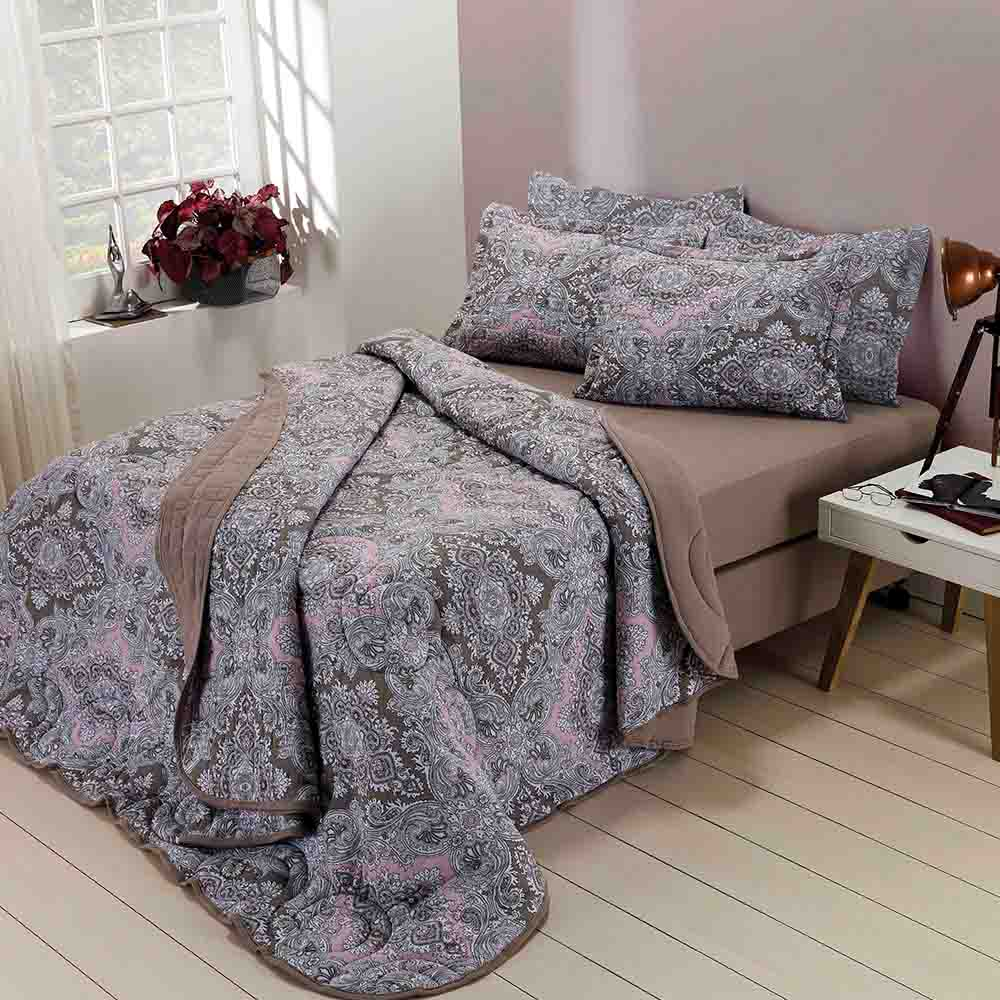Edredom de Malha Estampado Floral Ibiza Dianneli 100% Algodão