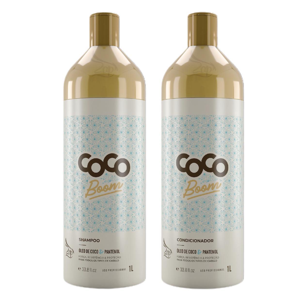 Kit Zap Coco Boom Lavatorio Profissional 1L Shampoo e Condicionador