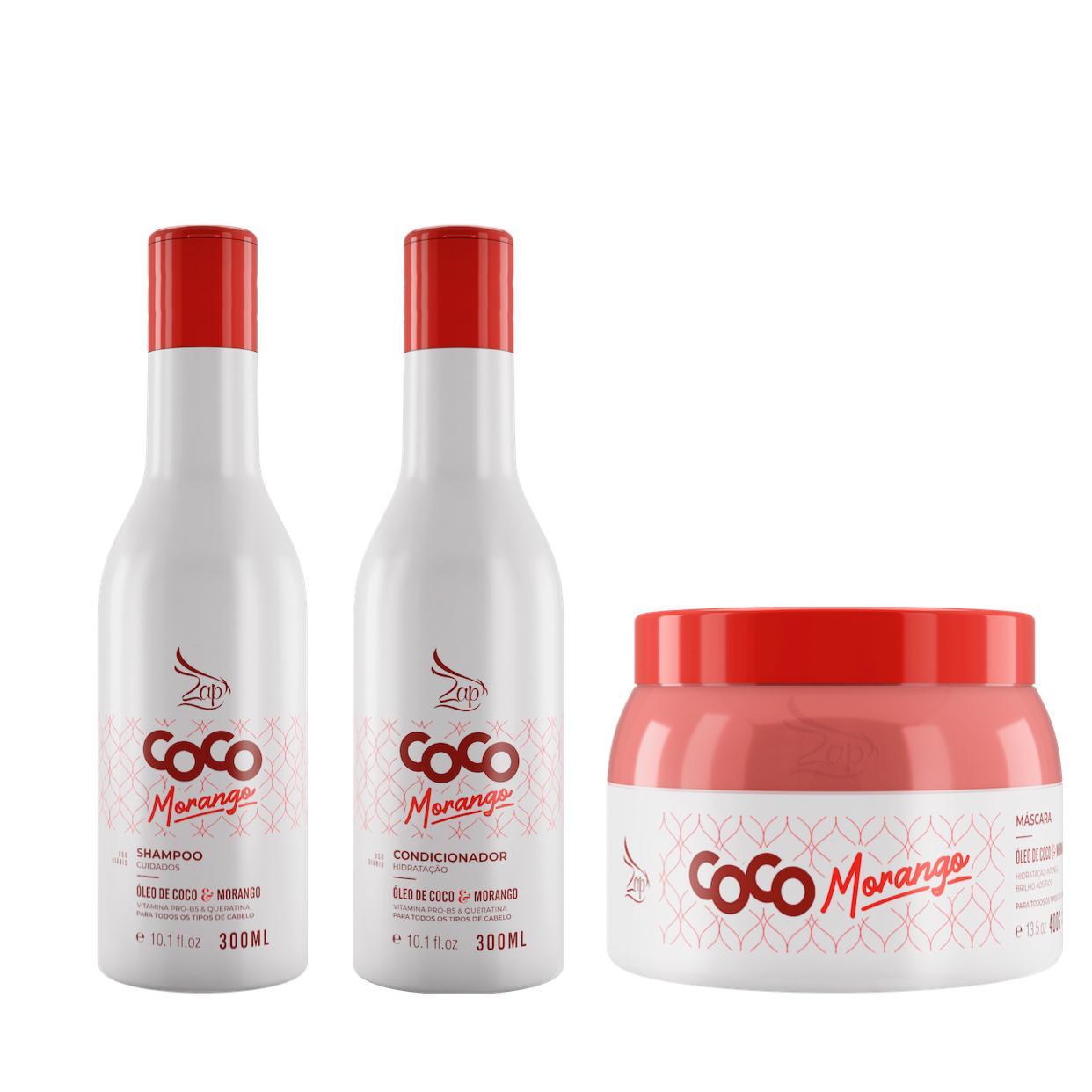 Zap Kit Completo Coco Morango Manutenção 300ml Lançamento