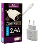 Carregador Inteligente 2 USB's CM-202 + Cabo Tipo C Android