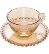 Xicara de Cristal de Chumbo P/cha C/pires Pearl