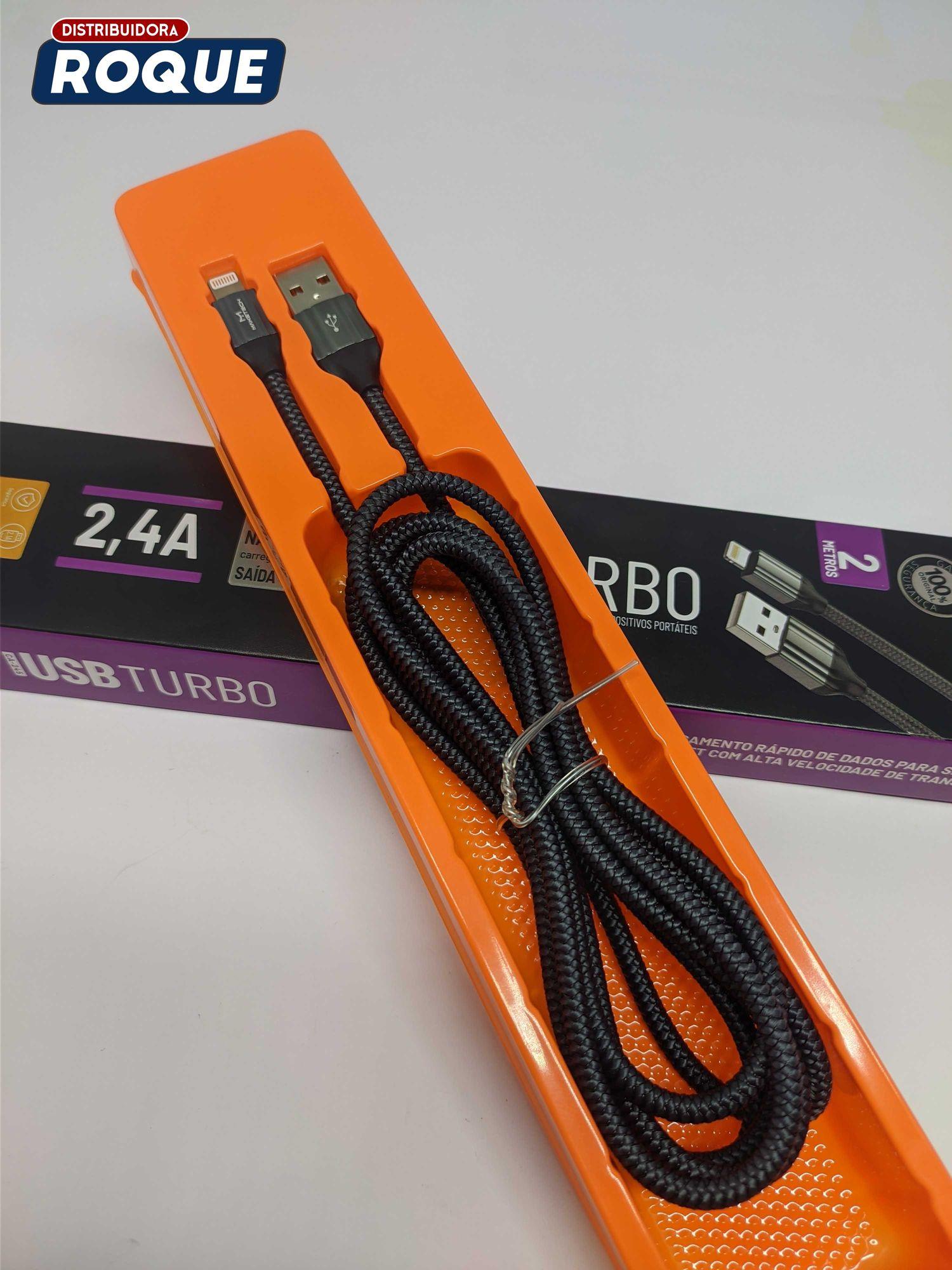 Cabo USB Turbo Lightning iOS C-245 Revestido com Corda Super Resistente