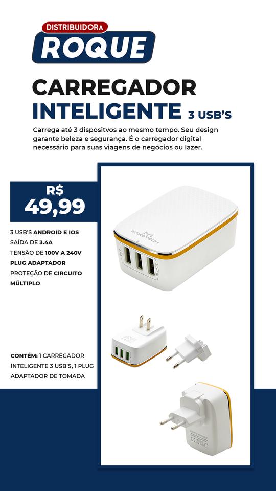 Carregador Inteligente 3 USB's A-3304