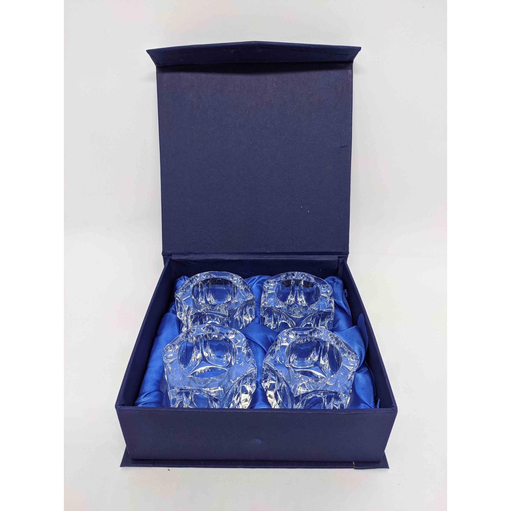 Conjunto 4 Anéis P/ Guardanapo de Cristal Óptico
