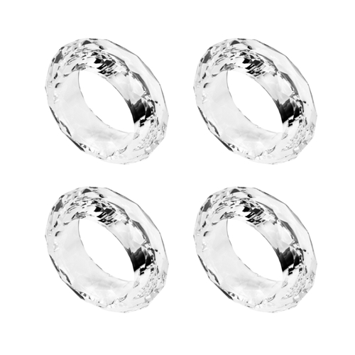 Conjunto 4 Aneis P/guardanapos Cristal Optico