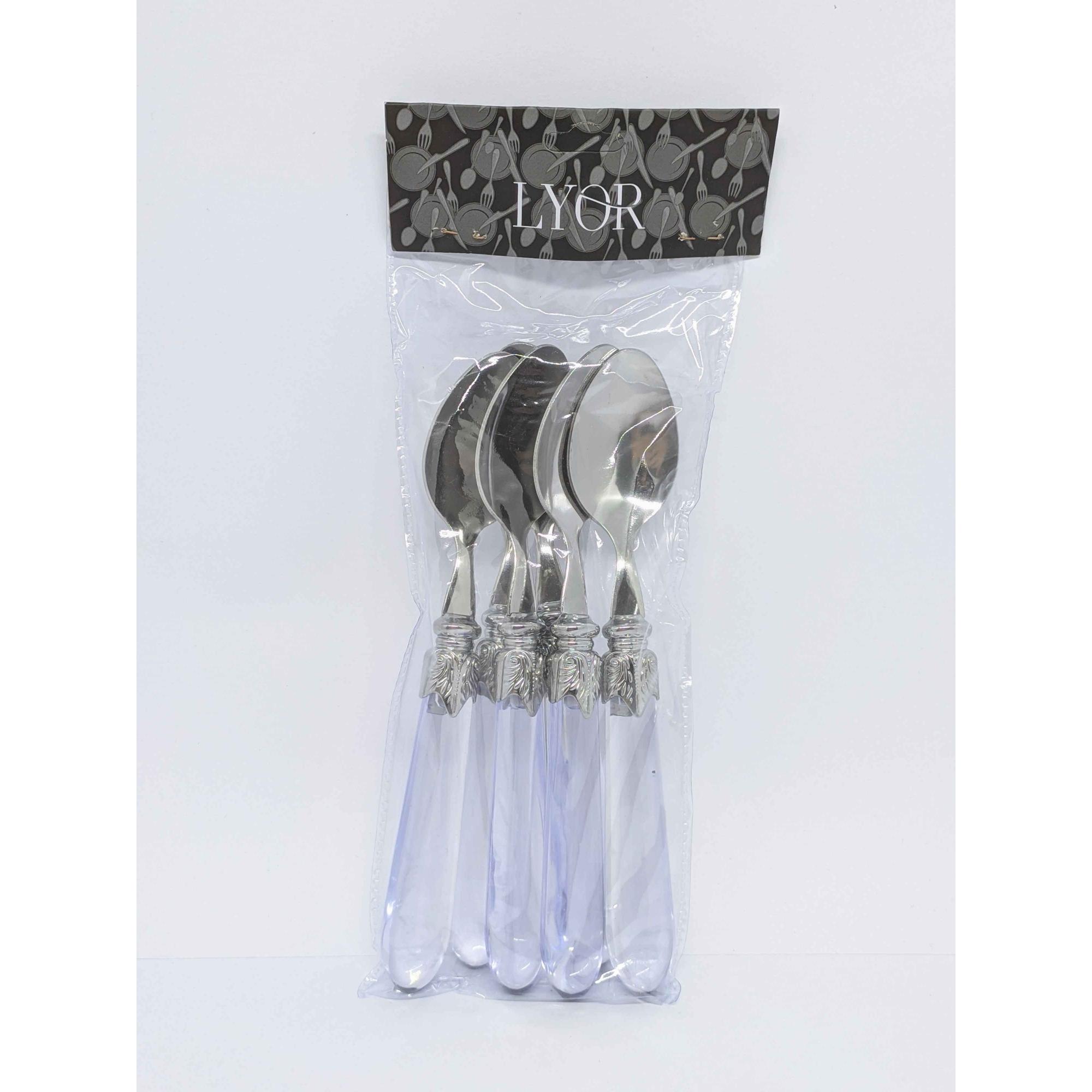 Conjunto 6 Colheres P/cha de Aco Inox C/cabo de Plastico
