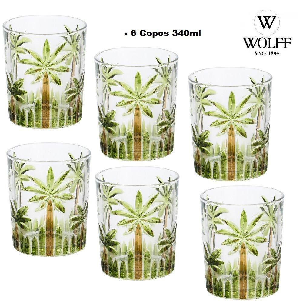 Conjunto 6 Copos Baixos Cristal de Chumbo Palm Tree Hand