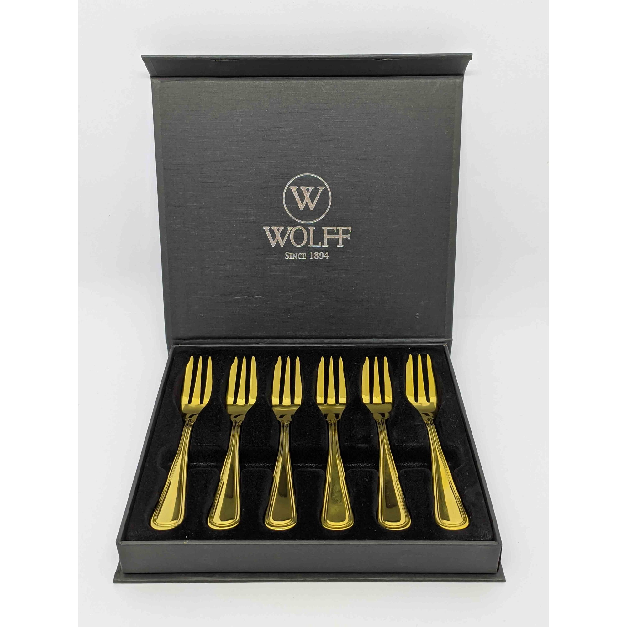 Conjunto 6 Garfos de Aço Inox P/ Bolo PVD Dourado Avalon