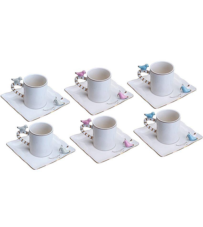 Conjunto 6 Xicaras Porcelana P/cafe Birds Design Plate
