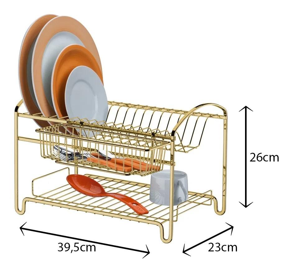 Escorredor de Loucas Duplo - Dourado