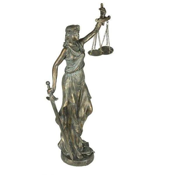 Figura Decorativa Resina Dama da Justica Prateada