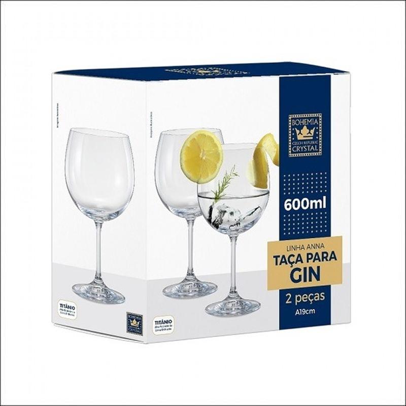 Jogo de 2 tacas para gin tonica Anna em cristal ec