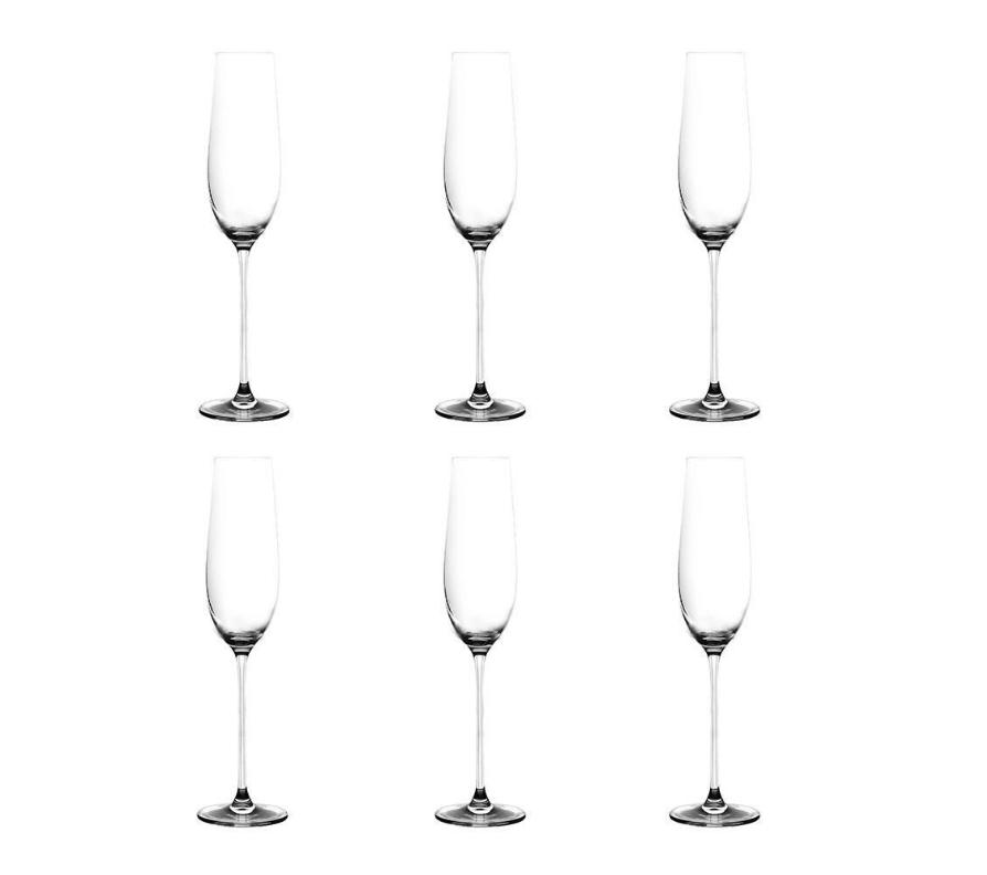 Jogo de 6 tacas para champanhe Beatriz em cristal