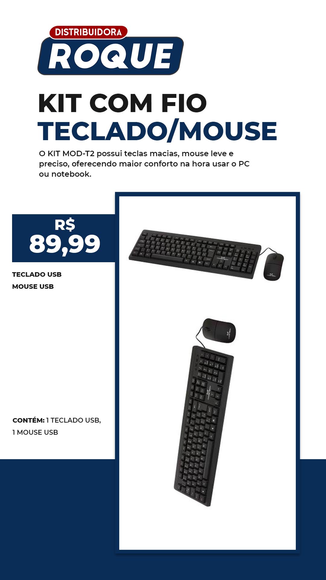 Kit Teclado e Mouse Com Fio T-2
