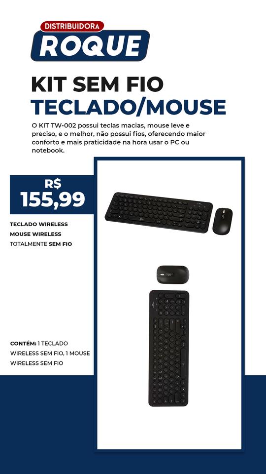 Kit Teclado e Mouse Sem Fio TW-002