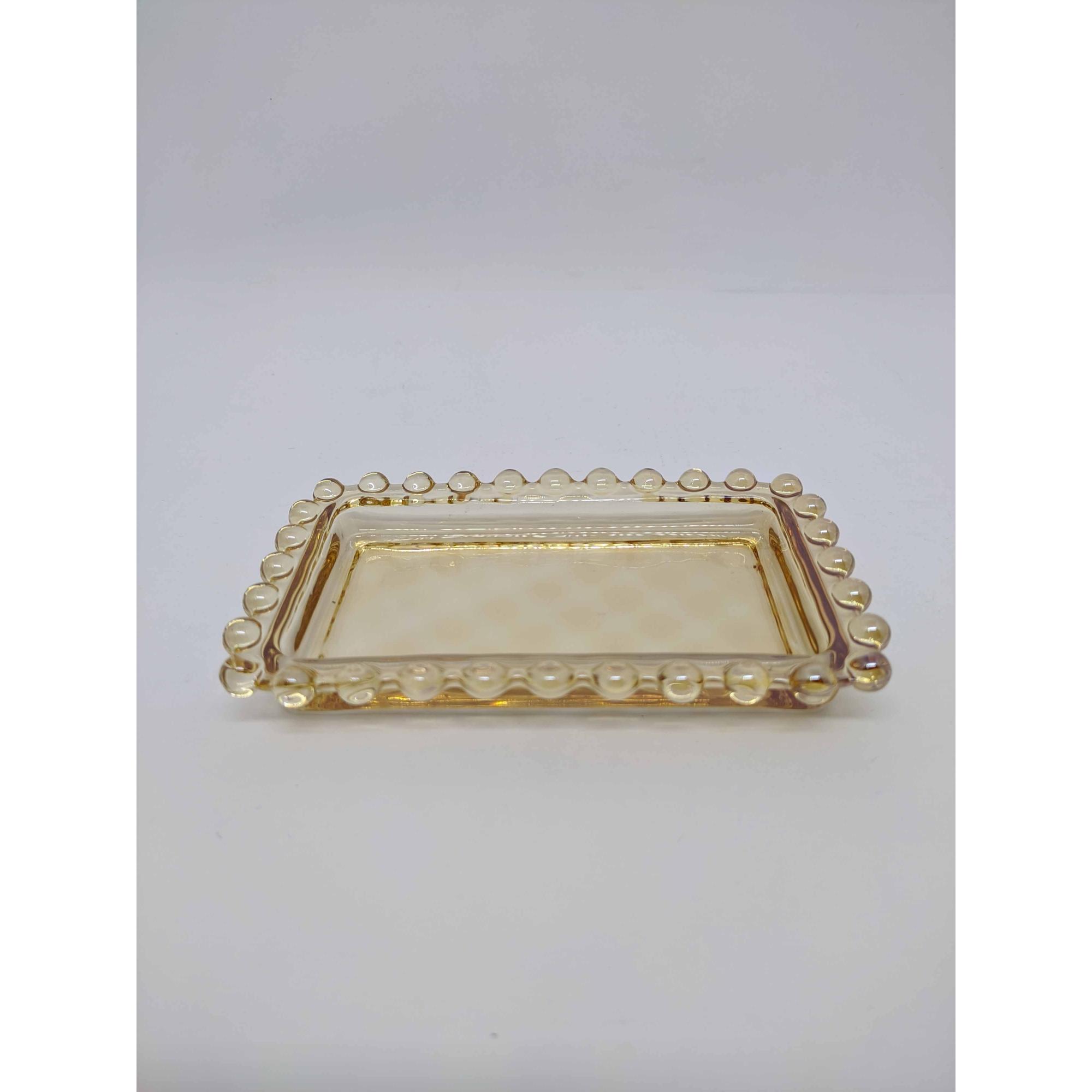 Manteigueira Cristal de Chumbo Pearl Ambar 14x9x10