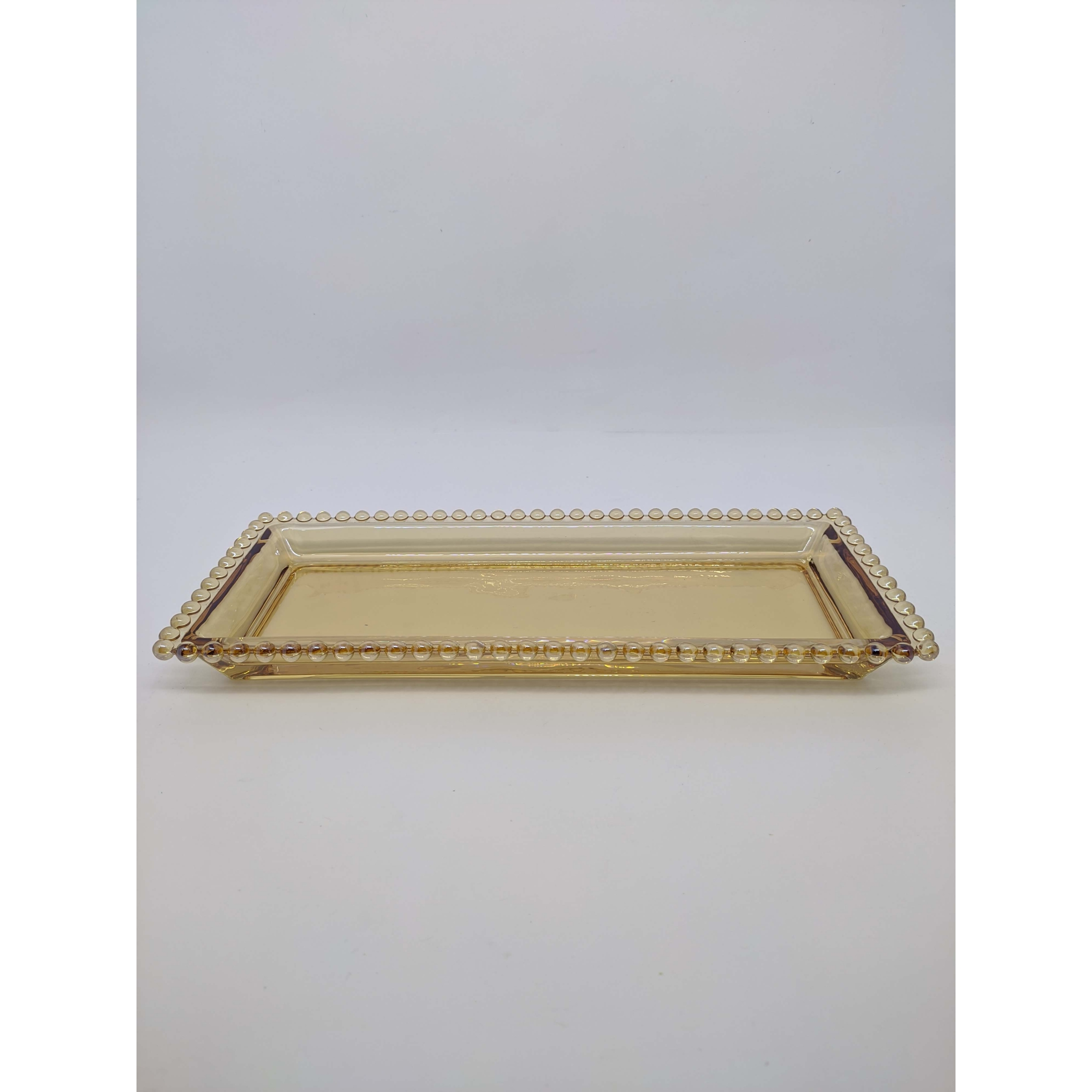 Travessa Cristal de Chumbo Pearl Ambar 30x13x3cm