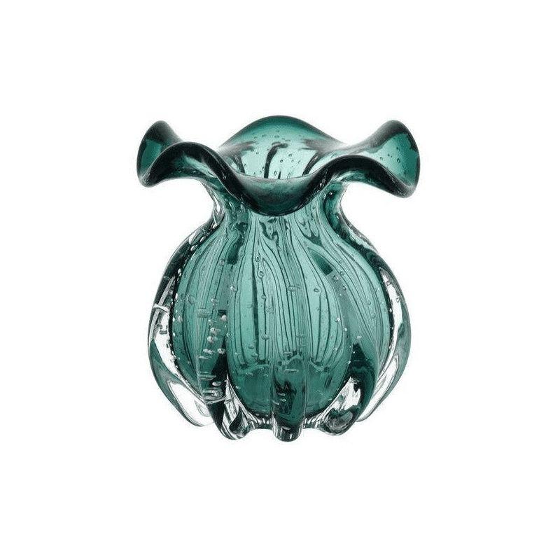 Vaso de Vidro Italy Verde Esmeralda 11,5x13cm