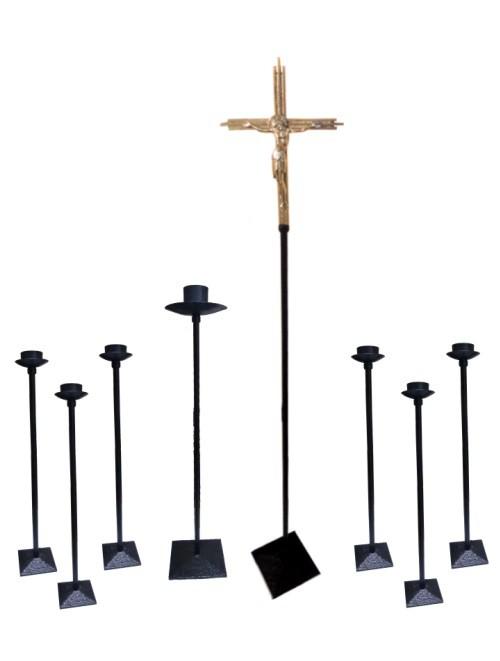 Conj Castiçal/ Cruz P. Icône Cristo 1