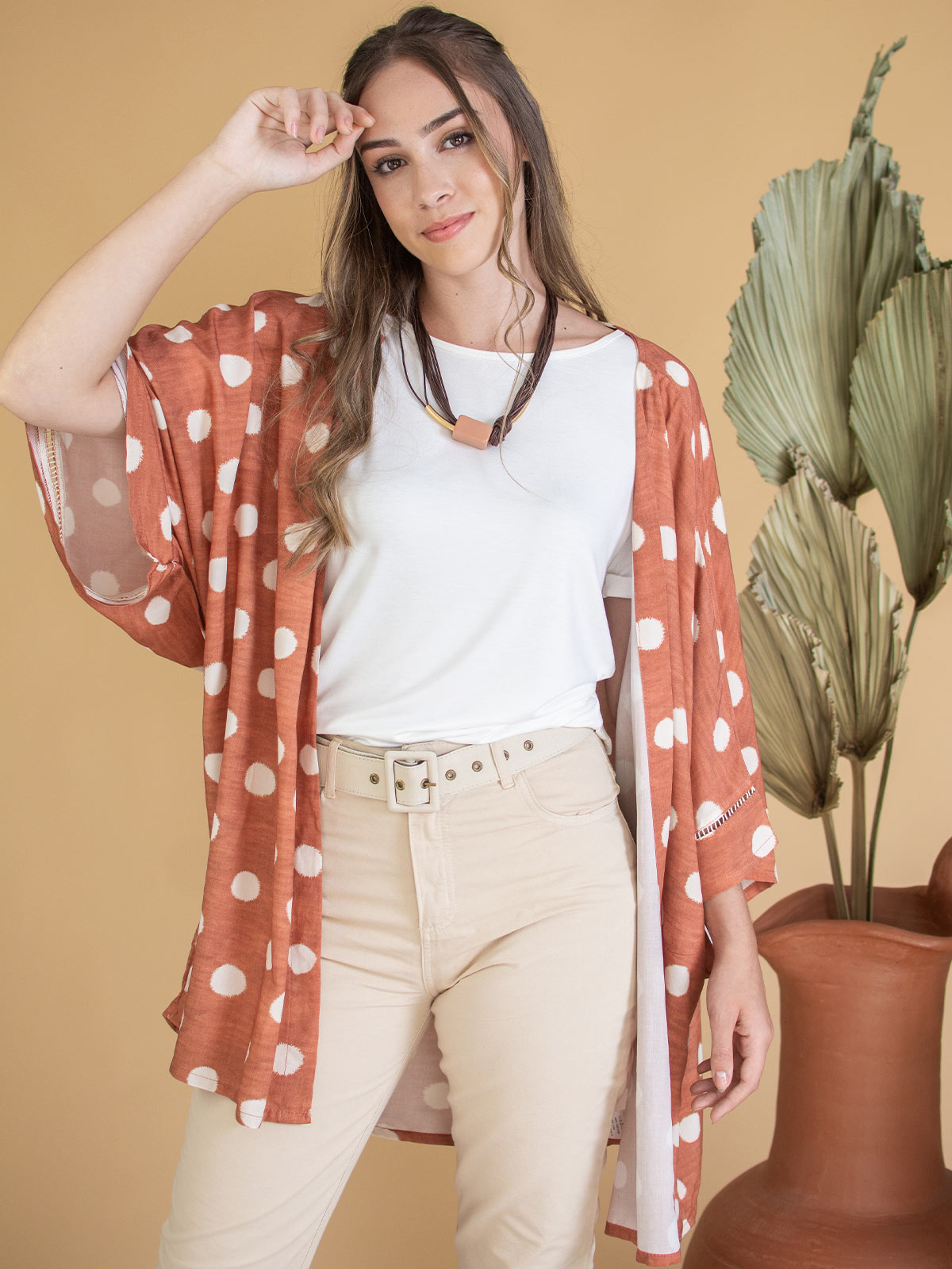 Kimono Longo Poá Neutro