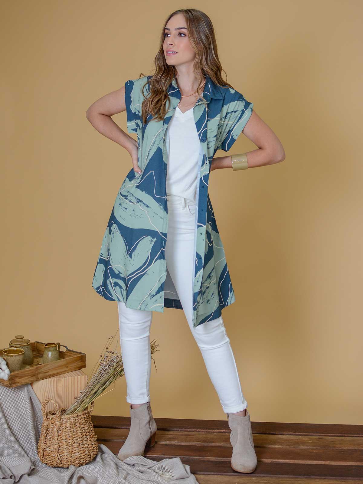 Vestido Camisa Manga Curta Est. Flora