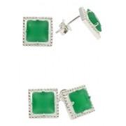 Brinco Quadrado, Carrê, Vazado, Jade Verde, Prata 925.