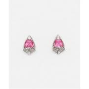 Brinco Triangular Pink, Ródio Branco.