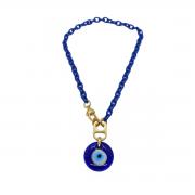 Colar / Corrente Azul com Pingente de Olho Grego em Murano.