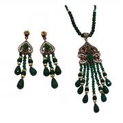 Conjunto Indiano Todo em Jade Natural, Opção em Jade Verde e Vermelha.