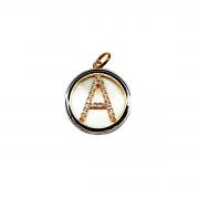Mandala Inicial em Zircônia e Madre Pérola, Folheada a Ouro 18k