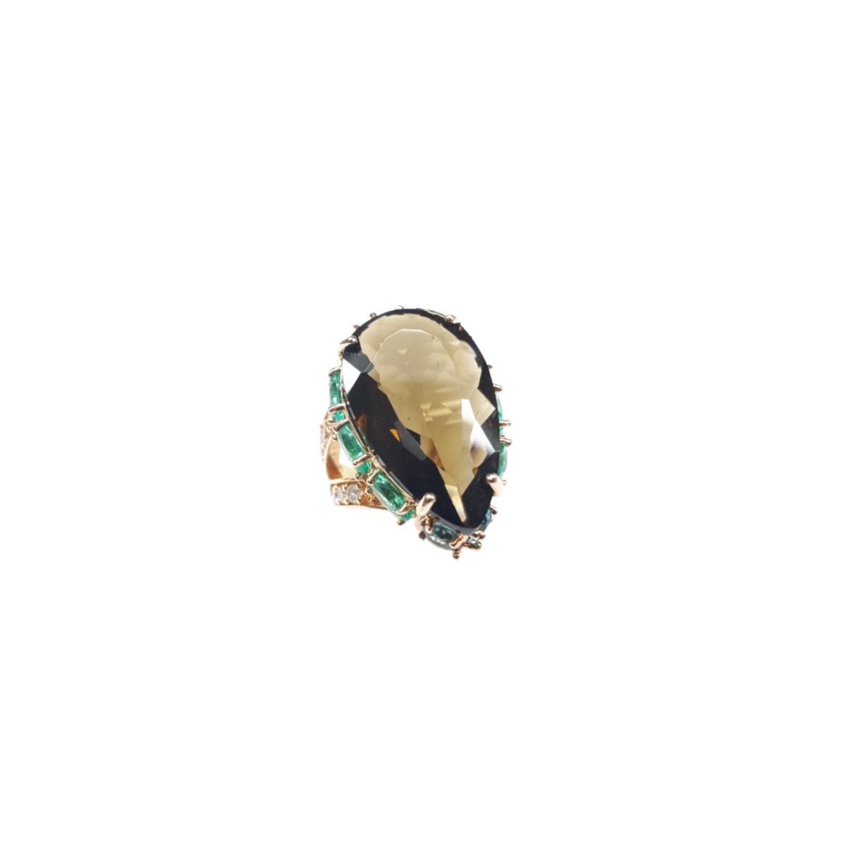 Anel Gota Grande, Cravação Lateral, Folheado a Ouro 18K