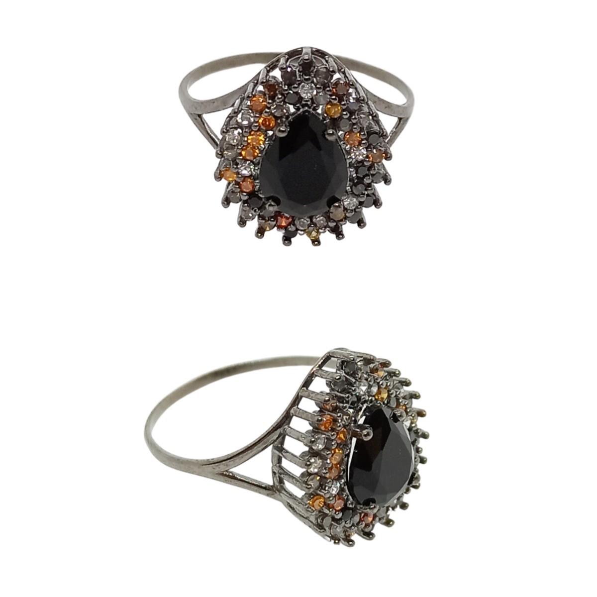 Anel Gota Preto - Zircônias Coloridas - Prata 925 Ródio Negro
