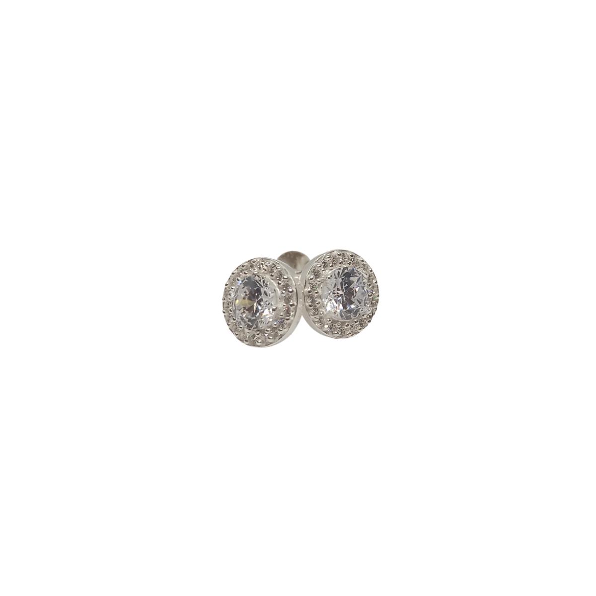 Brinco Solitário, Cravação lateral em Zircônia, Prata 925