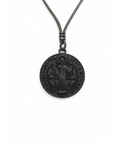 Colar Cordão Masculino Medalha De São Bento Preta, Aço Inox.