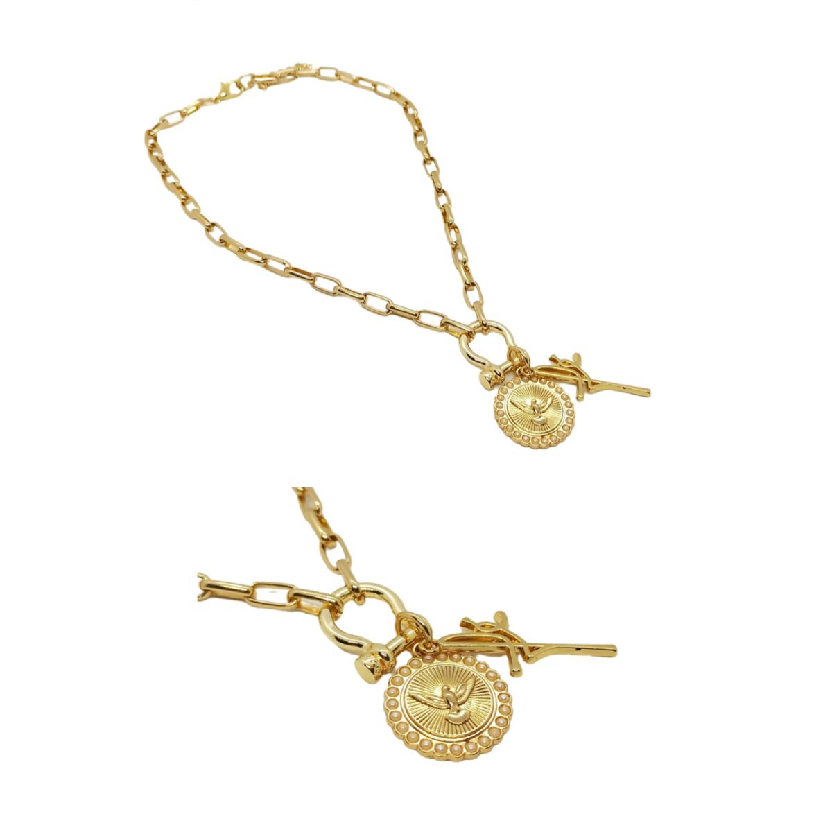 Colar / Corrente Fé e Medalha Espirito Santo, Dourado.