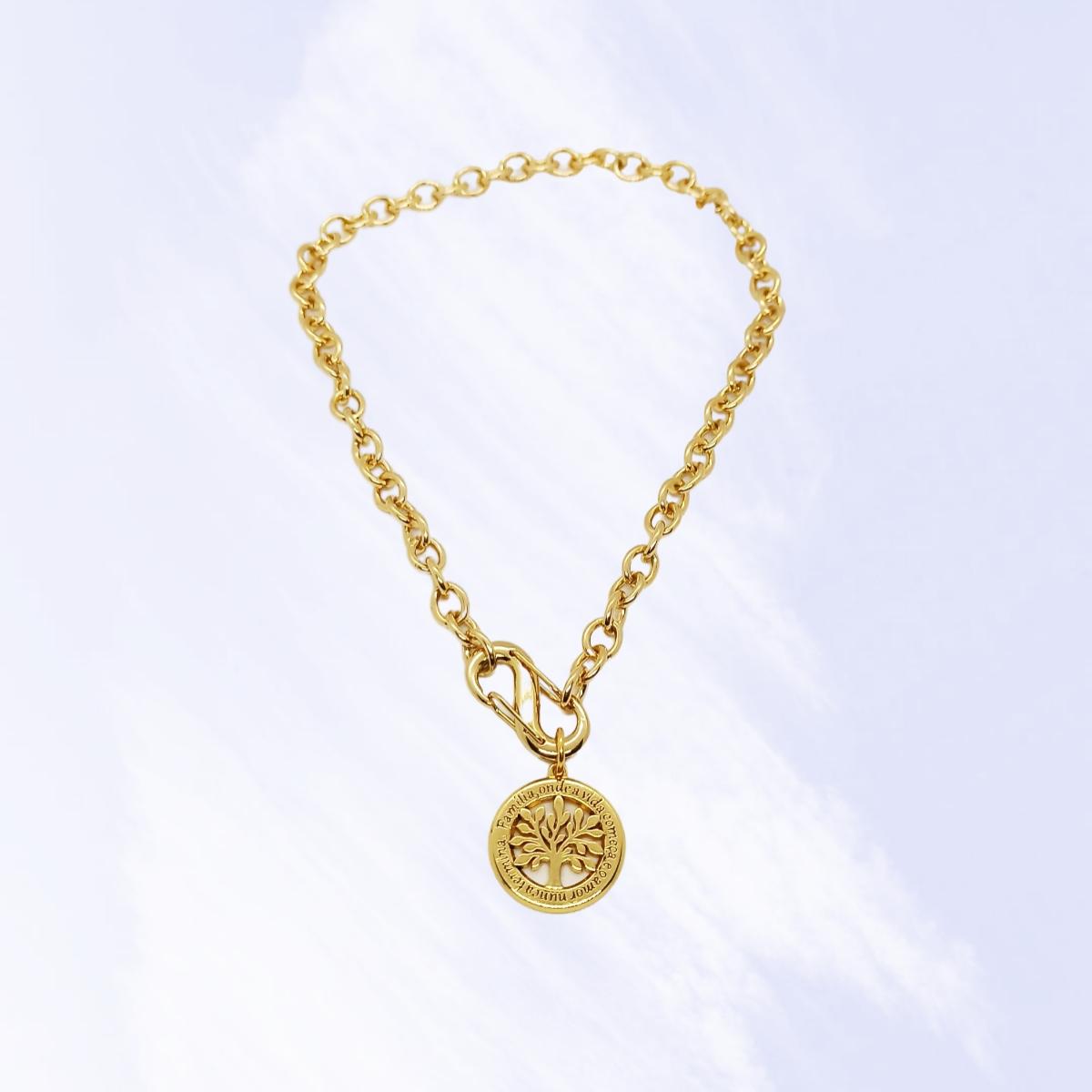 Colar / Corrente Medalha Árvore da Vida, Dourado.