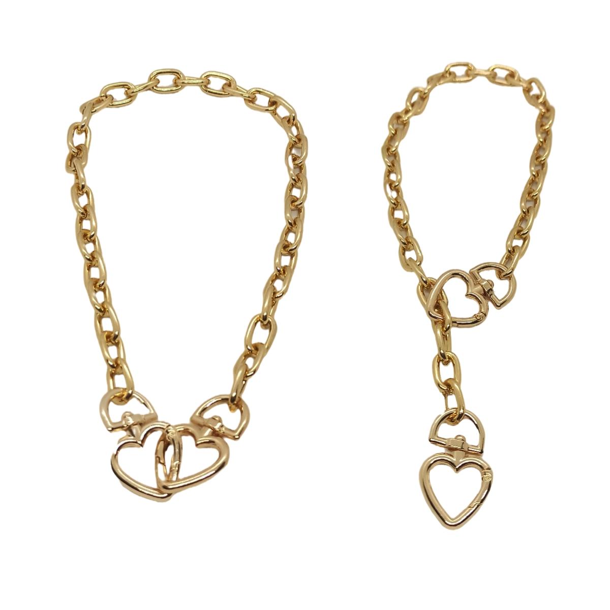 Colar / Corrente Mosquetão de Coração Duplo, Dourado.