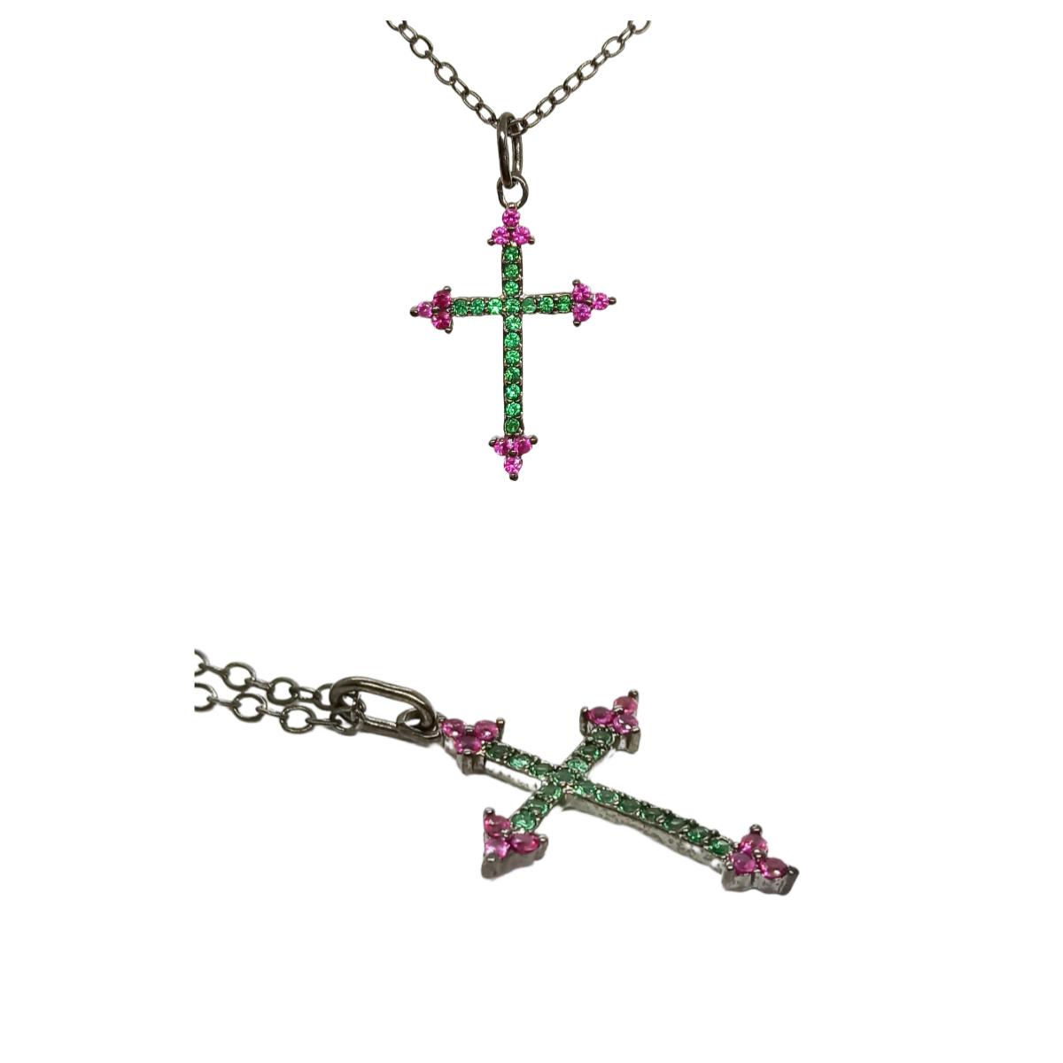 Colar Cruz Delicada, Cravação em Zircônias.
