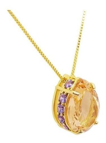 Colar Gota Champanhe / Ametista Dourado