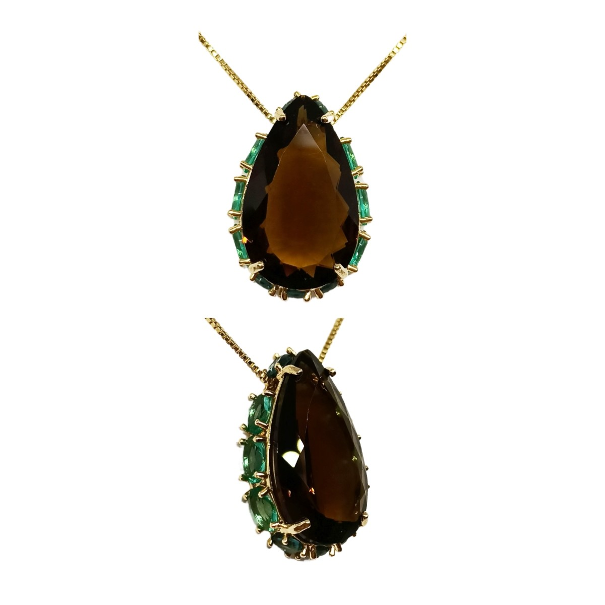 Colar Gota Grande Cristal 18 x 25, Cravação Lateral, folheado a Ouro 18K