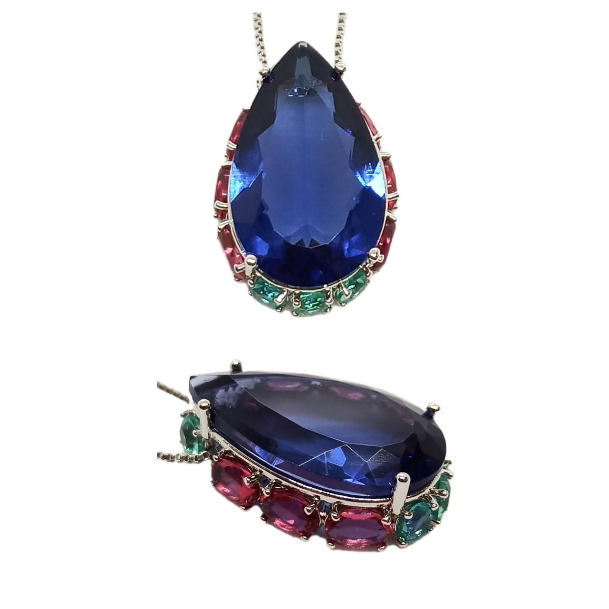 Colar Gota Grande Cristal 18 x 25, Cravação Lateral, Ródio Branco.