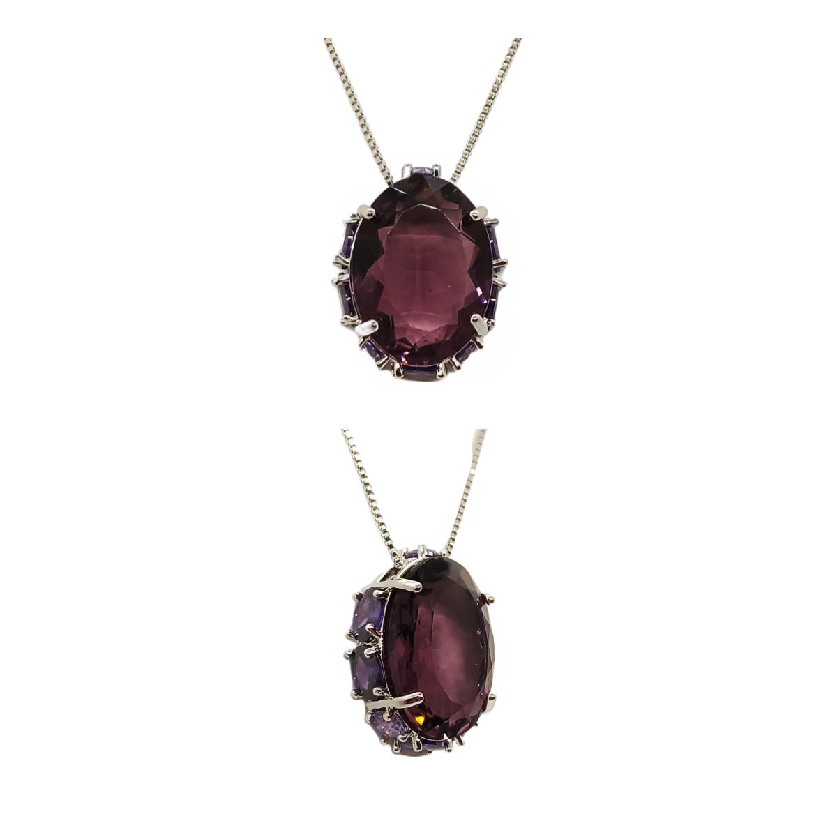 Colar Oval Cristal e Zircônia, Com Cravação nas Laterais, Folheado.
