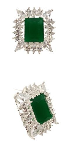 Colar Princesa Retangular / Baguete, Jade Verde, Prata 925.