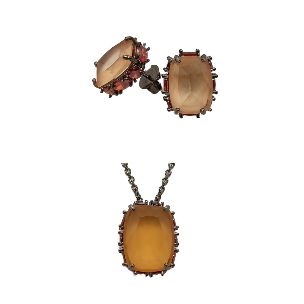Conjunto Baguete Antique, Cravação lateral em pedras redondas e Ovais, Folheado.